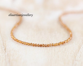 Citrine Delicate Beaded Necklace in Sterling Silver, Gold or Rose Gold Filled. Dainty Tiny Gemstone Choker. Long Layering Necklace for Women