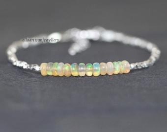 Ethiopian Welo Opal, Sterling & Fine Silver Bracelet. Orange Gemstone Dainty Bracelet. Karen Hill Tribe Silver Delicate Beaded Jewelry