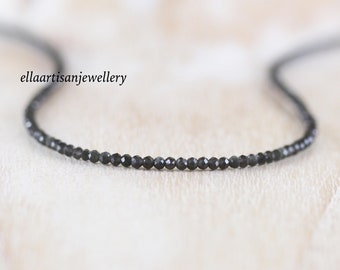 Black Moonstone Beaded Necklace in Sterling Silver, Gold or Rose Gold Filled. Dainty Tiny Gemstone Choker. Long Layering Necklace for Women