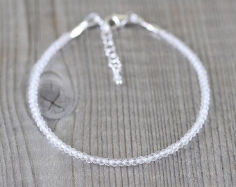 Rock Crystal Dainty Bracelet in Sterling Silver, Gold or Rose Gold Filled. AAA Clear Quartz Gemstone Tiny Beaded Stacking Bracelet for Women