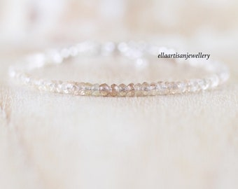 Imperial Topaz Dainty Bracelet in Sterling Silver, Gold or Rose Gold Filled. Ombre Gemstone Stacking Bracelet. Delicate Jewelry for Women