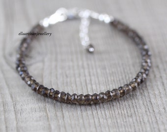 Natural Smokey Quartz Dainty Bracelet in Sterling Silver, Gold or Rose Gold Filled. AAA Delicate Beaded Gemstone Stacking Bracelet for Women