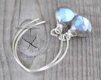 Labradorite & Sterling Silver Earrings. Blue Flash Gemstone Long Dangle Earrings. Wire Wrapped Drop Earrings for Women. Boho, Hippie Jewelry