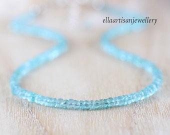 Aqua Apatite Beaded Necklace in Sterling Silver, Gold or Rose Gold Filled, Dainty Gemstone Choker, Long Delicate Layering Necklace for Women