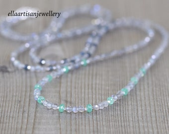 Zambian Emerald, Sapphire & Labradorite Long Beaded Layering Necklace. Sterling Silver, Gold or Rose Gold Filled. Gemstone Jewelry for Women