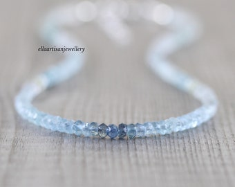 Aquamarine Dainty Beaded Choker, Ombre Blue & Green Gemstone Necklace in Sterling Silver, Gold or Rose Gold Filled, Boho Jewelry for Women