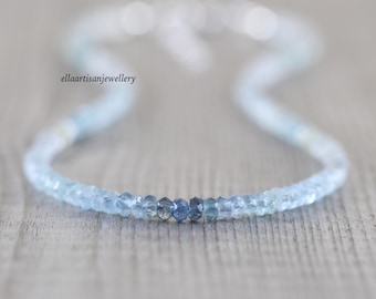 Aquamarine Beaded Choker. Dainty Ombre Blue Gemstone Necklace. Sterling Silver, Rose, Gold Filled. Delicate Boho Layering Jewelry for Women