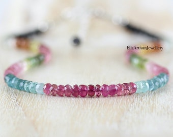 Multi Color Tourmaline Beaded Necklace in Sterling Silver, Gold or Rose Gold Filled, Watermelon Pink Gemstone Choker, 4 to 4,5mm Beads