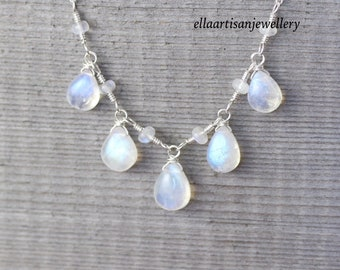 Rainbow Moonstone & Sterling Silver Bib Necklace, AAAA Semi Precious Gemstone Statement Necklace, Wire Wrapped Artisan Jewelry for Women
