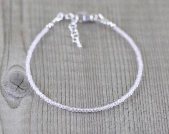 Delicate Rose Quartz Bracelet. Sterling Silver, Rose, Gold Filled. Tiny Beaded Stack Bracelet. Simple Minimalist Gemstone Jewelry for Women