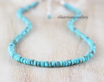 Arizona Sleeping Beauty Turquoise Necklace in Sterling Silver, Gold or Rose Gold Filled, Beaded Gemstone Choker, Long Boho Layering Necklace