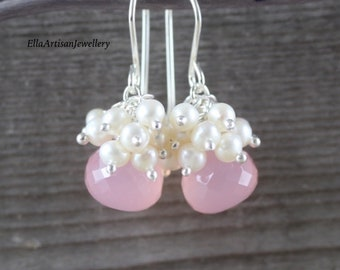 Freshwater Pearl, Pink Chalcedony & Sterling Silver Cluster Earrings. Beaded Gemstone Dainty Drop Earrings. Small Dangle Earrings for Women