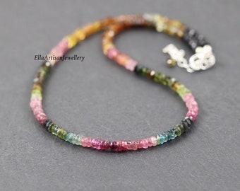 Watermelon Tourmaline Necklace. Dainty Beaded Choker. Sterling Silver, Rose, Gold Filled. Pink & Green Multi Gemstone Boho Jewelry for Women