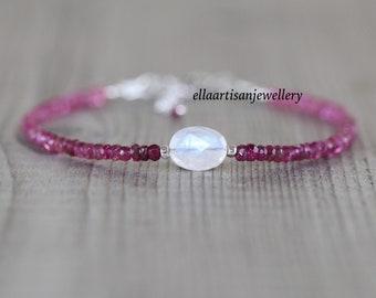 Pink Tourmaline & Rainbow Moonstone Bracelet in 925 Sterling Silver, Gold or Rose Gold Filled. Dainty Gemstone Stacking Bracelet for Women