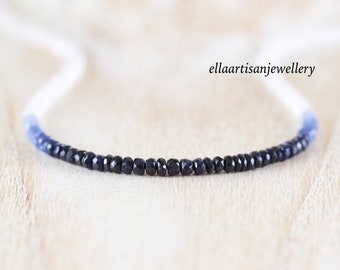 Sapphire & Rainbow Moonstone Necklace in Sterling Silver, Gold or Rose Gold Filled, Dainty Blue Gemstone Choker, Long Boho Layering Necklace