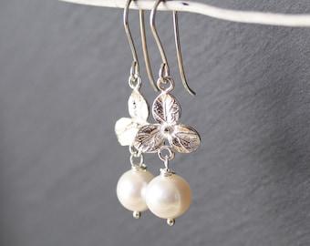 Freshwater Pearl & Sterling Silver Earrings. Lotus Flower Drop Earrings. Natural White Ivory Long Dangle Earrings. Boho Jewelry for Women