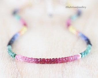 Multi Color Sapphire, Ruby & Emerald Beaded Necklace in Sterling Silver, Gold or Rose Gold Filled, Dainty Precious Gemstone Choker for Women