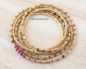 Tundra Sapphire, Ruby & Gold Filled Necklace. Long Layering Necklace. Multi Color Gemstone Wrap Bracelet. Dainty Seed Bead Jewelry for Women