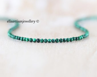 Malachite Delicate Beaded Necklace, Sterling Silver, Gold or Rose Gold Filled, Dainty Tiny Gemstone Choker, Long Layering Necklace for Women