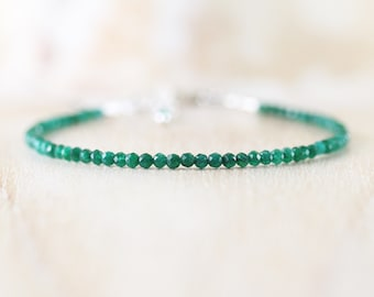 Emerald Delicate Beaded Bracelet in Sterling Silver, Gold or Rose Gold Filled. Dainty Beaded Stacking Bracelet. Gemstone Jewelry for Women
