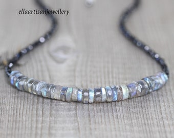 Labradorite & Black Spinel Necklace. Sterling Silver, Rose, Gold Filled. Blue Flash AAA Gemstone Heishi Bead Choker. Boho Jewelry for Women