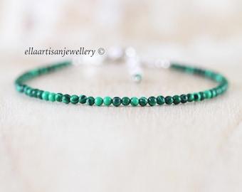 Malachite Dainty Bracelet. Sterling Silver, Rose, Gold Filled. Thin Slim Stacking Bracelet. Delicate Tiny Beaded Gemstone Jewelry for Women