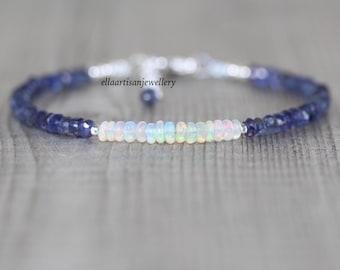Ethiopian Welo Opal & Iolite Bracelet in Sterling Silver, Gold or Rose Gold Filled. Dainty Blue Gemstone Beaded Stacking Bracelet for Women