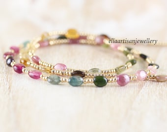 Multi Color Tourmaline, Miyuki Seed Bead & Gold Filled Necklace. Watermelon Tourmaline Long Delicate Layering Necklace. Jewelry for Women