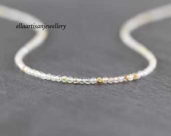 Golden Rutilated Quartz Necklace in Sterling Silver, Gold or Rose Gold Filled, Dainty Tiny Gemstone Choker, Long Delicate Layering Necklace