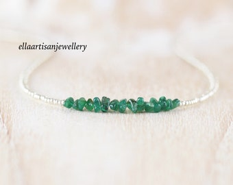 Raw Zambian Emerald, Seed Bead & Sterling Silver Necklace. Delicate Rough AAA Gemstone Choker. Dainty Tiny Beaded Layering Jewelry for Women