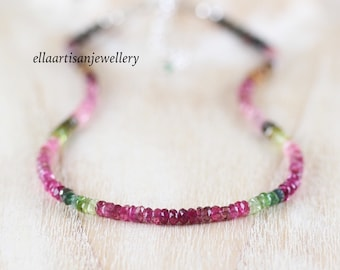 Watermelon Tourmaline Beaded Necklace in Sterling Silver, Gold or Rose Gold Filled, Pink & Green Multi Color Gemstone Choker, Boho Jewelry