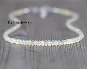 Ethiopian Welo Opal Beaded Necklace in 925 Sterling Silver, 14Kt Gold or Rose Gold Filled, Dainty Gemstone Choker, Long Layering Necklace