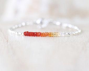Mexican Fire Opal, Sterling & Fine Silver Bracelet. Dainty Tiny Gemstone Slim Skinny Bracelet. Delicate Jewelry for Women. Karen Hill Tribe