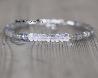 Rainbow Moonstone & Labradorite Bracelet in Sterling Silver, Gold or Rose Gold Filled. Blue Flash Gemstone Dainty Beaded Stacking Bracelet