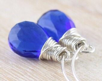 Kyanite Blue Quartz & Sterling Silver Drop Earrings, Semi Precious Gemstone Long Dangle Earrings, Wire Wrapped Boho Jewelry, Gift for Women
