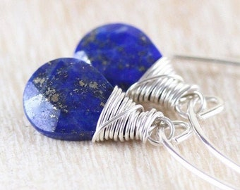 Lapis Lazuli & Sterling Silver Earrings. Navy Blue Gemstone Long Dangle Earrings. Wire Wrapped Drop Earrings. Boho Hippie Jewelry for Women