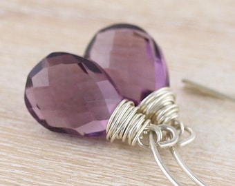 Amethyst Quartz & Sterling Silver Earrings. Wire Wrapped Gemstone Drop Earrings. Long Dangle Bead Earrings. Boho, Hippie Jewelry for Women