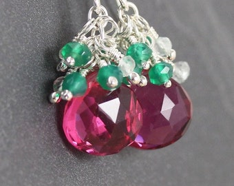 Pink Tourmaline Quartz & Sterling Silver Cluster Earrings. Beaded Multi Gemstone Drop Earrings. Dangle Earrings for Women.