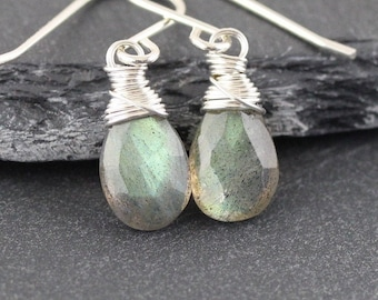 Labradorite Wire Wrapped Drop Earrings in 925 Sterling Silver, 14Kt Gold or Rose Gold Filled on Hook, Lever Back or Long Marquise Ear Wires
