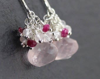 Rose Quartz, Pink Tourmaline, Ruby & Sterling Silver Cluster Earrings. Multi Gemstone Drop Earrings. Dainty Beaded Dangle Earrings for Women