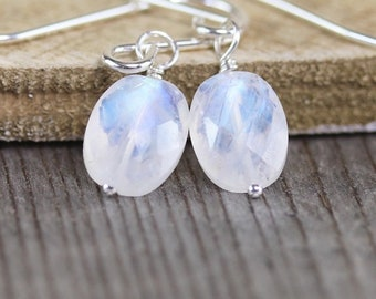 Rainbow Moonstone Earrings in Sterling Silver, Gold or Rose Gold Filled. AAAA Blue Flash Gemstone Faceted Oval Drop Earrings