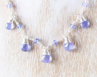 Tanzanite & Sterling Silver Delicate Bib Necklace. Wire Wrapped Dainty Gemstone Choker. Lightweight Simple and Elegant Jewelry for Women