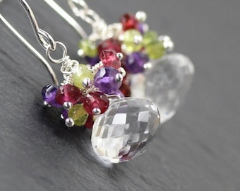 Multi Color Gemstone & Sterling Silver Cluster Earrings. Clear Rock Crystal Quartz, Amethyst, Garnet and Vesuvianite Fine Jewelry for Women