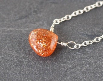 Sunstone Necklace in Sterling Silver, 18Kt Gold or Rose Gold Filled. Dainty Gemstone Pendant. Delicate Simple Layering Jewelry for Women