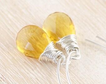 Citrine Quartz Wire Wrapped Drop Earrings in 925 Sterling Silver, 14Kt Gold or Rose Gold Filled. AAA Gemstone Long Dangle Earrings for Women