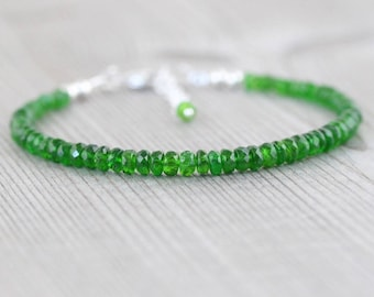 Chrome Diopside Beaded Bracelet in Sterling Silver, Gold or Rose Gold Filled, Dainty Green Gemstone Stacking Bracelet, Jewelry for Women