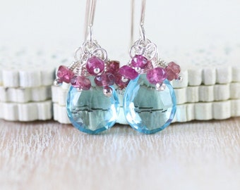 Sky Blue Topaz Quartz, Pink Tourmaline & Sterling Silver Cluster Earrings. Beaded Gemstone Drop Earrings. Dainty Dangle Earrings for Women
