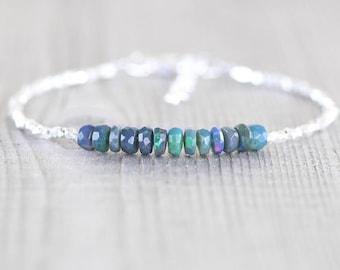 Ethiopian Black Welo Opal, Sterling & Fine Silver Bracelet, Dainty Karen Hill Tribe Silver Tiny Beaded Stacking Bracelet, Jewelry for Women