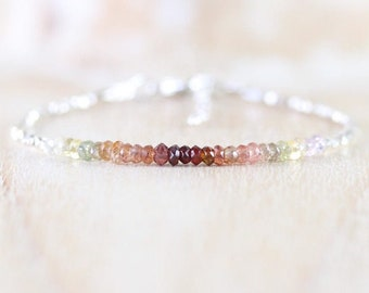 Ombre Spinel, Sterling & Fine Silver Bracelet, Multi Color Gemstone Tiny Beaded Stacking Bracelet, Rustic, Earthy, Autumn, Fall Jewelry