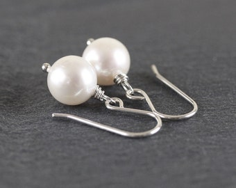 Natural Freshwater Pearl Drop Earrings. Sterling Silver, Rose, Gold Filled. White Ivory Round AAA Pearl Dangle Earrings. Jewelry for Women